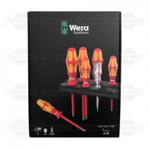 Wera 7pce VDE Kraftform Plus PZ & Flat Head Screwdriver Set