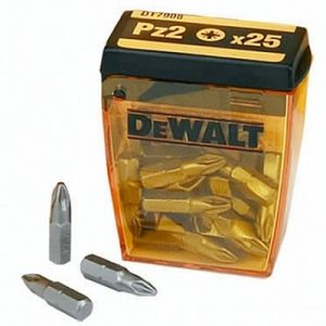 Dewalt 25mm PZ2 Screwdriver Bits Tic-Tac Box Of 25 Dt7908